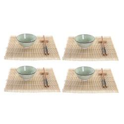 juego de 3 sartenes en aluminio prensado y 5 utensilios de cocina en nylon
